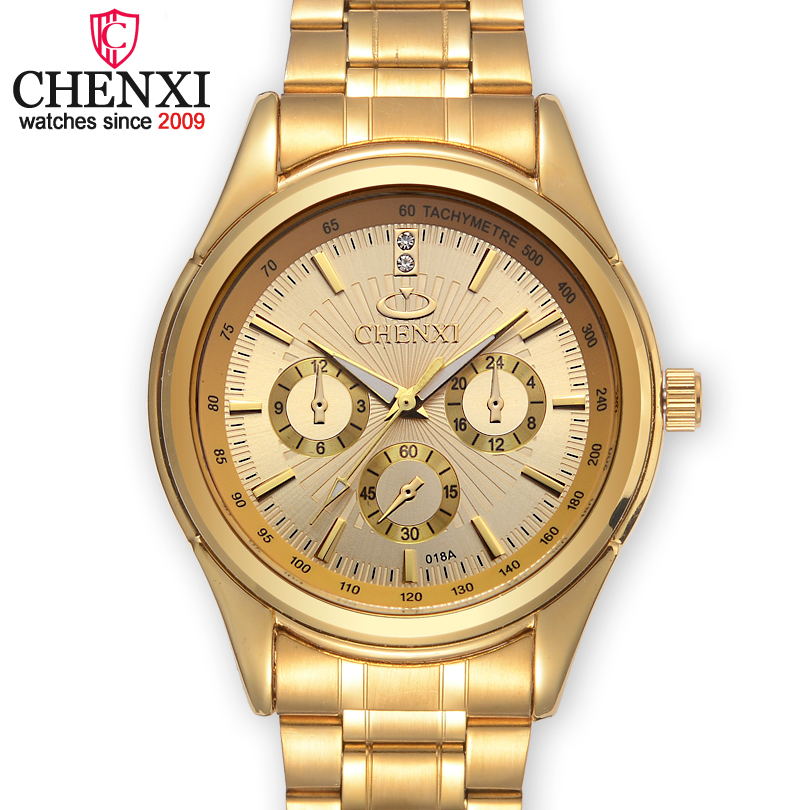 CHENXI Brands Top Luxury Gold Quartz Men Watch Stainless Steel Waterproof Male Wristwatch Famous Fashion Gift Clock Man Watches baosaili famous brand women quartz analog watches gold stainless steel wristwatch hollow lady gift relojes luxury hodinky clock