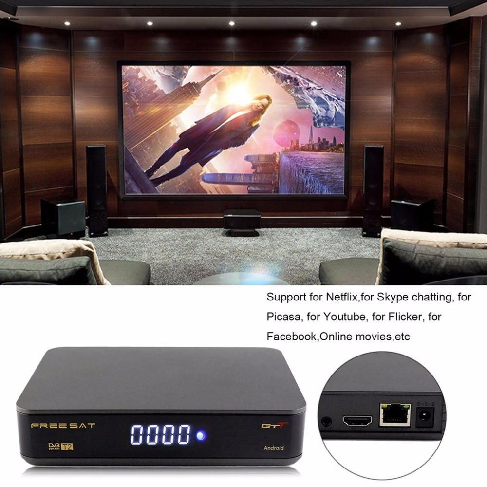 Freesat GTT Android+DVB-T/T2/Cable Box HD 4K 3D Wireless Automatic Manual Search Built-in Wifi 1GB RAM 8GB ROM 24 Languages [genuine] freesat v8 golden dvb s2 t2 c satellite tv combo receiver support powervu biss key cccamd newcamd n usb wifi optional