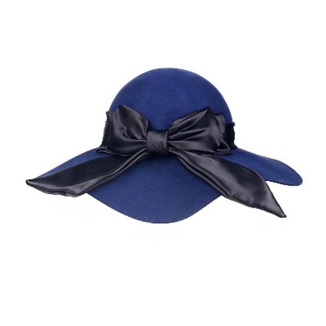 5266f88efd363e FS British Ladies Black Large Wide Brim Bowknot Wool Felt Fedora Hats For  Women Girls Autumn