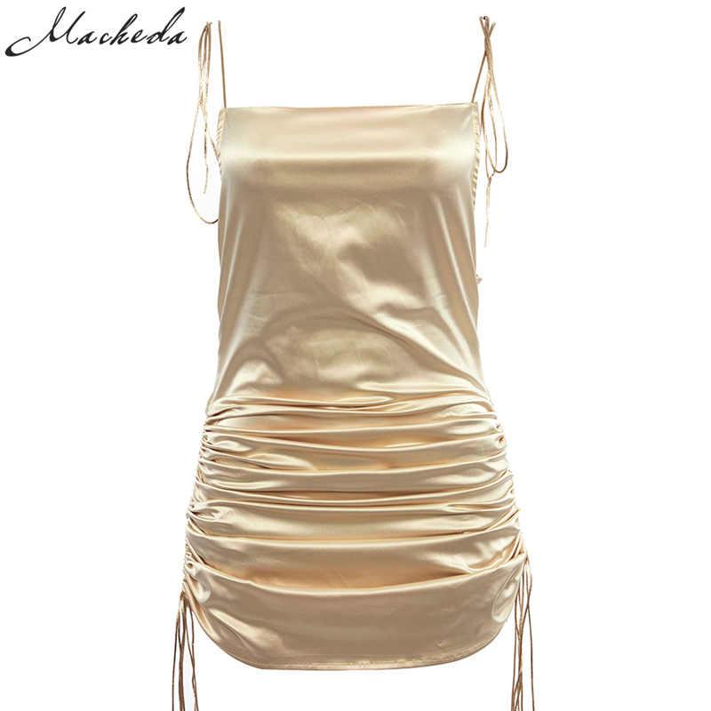 Macheda moda mujer sólido Spaghetti Straps espalda descubierta vestidos sin mangas Sexy longitud inferior ajustable señoras vestido Casual Ne'w