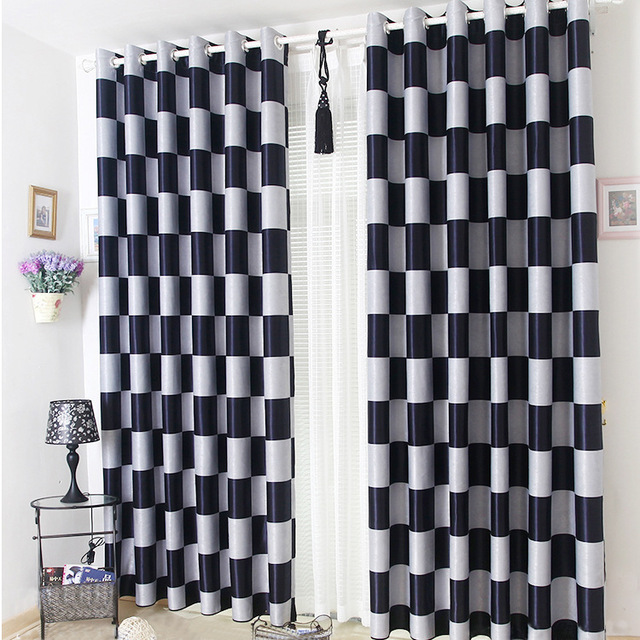 Brief Light Grey and Black Coffee Plaid Blackout/Sheer Window Curtains For Living room Bedroom Curtains Drapes Cortinas para
