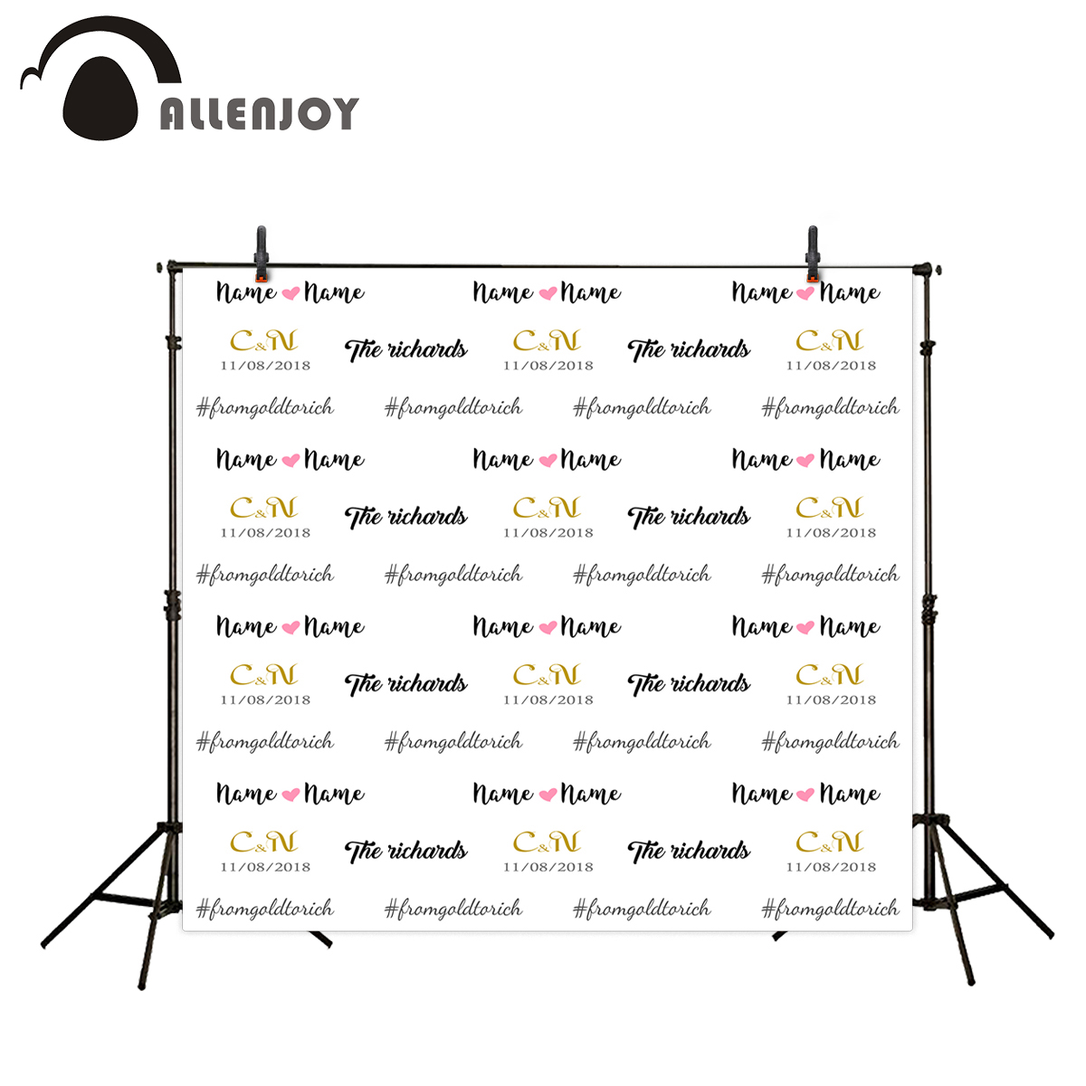 Allenjoy photographic background Gold LOGO custom made Date Repeat wedding photocall photography backdrops photo studio props allenjoy easter basket butterfly photography backdrops spring photography background photo studio background