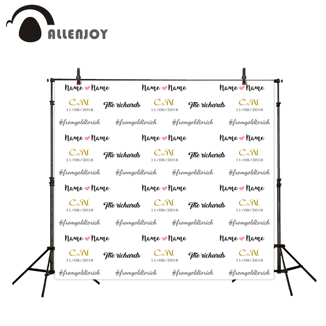 Allenjoy photographic background Gold LOGO custom made Date Repeat wedding photocall photography backdrops photo studio props