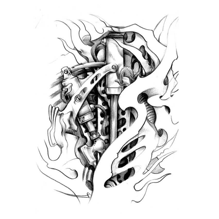 d63d80f752b72 ... Machine heart Temporary Tattoo sticker Waterproof high quality devil  Henna Tatoo Body Art Flash Female warrior ...