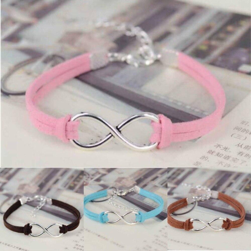 1PC  Fashion Infinity Rope Bracelet Hand-woven Silver Korean Velvet Leather Fashion Wrap Leather Jewelry  7514-7526