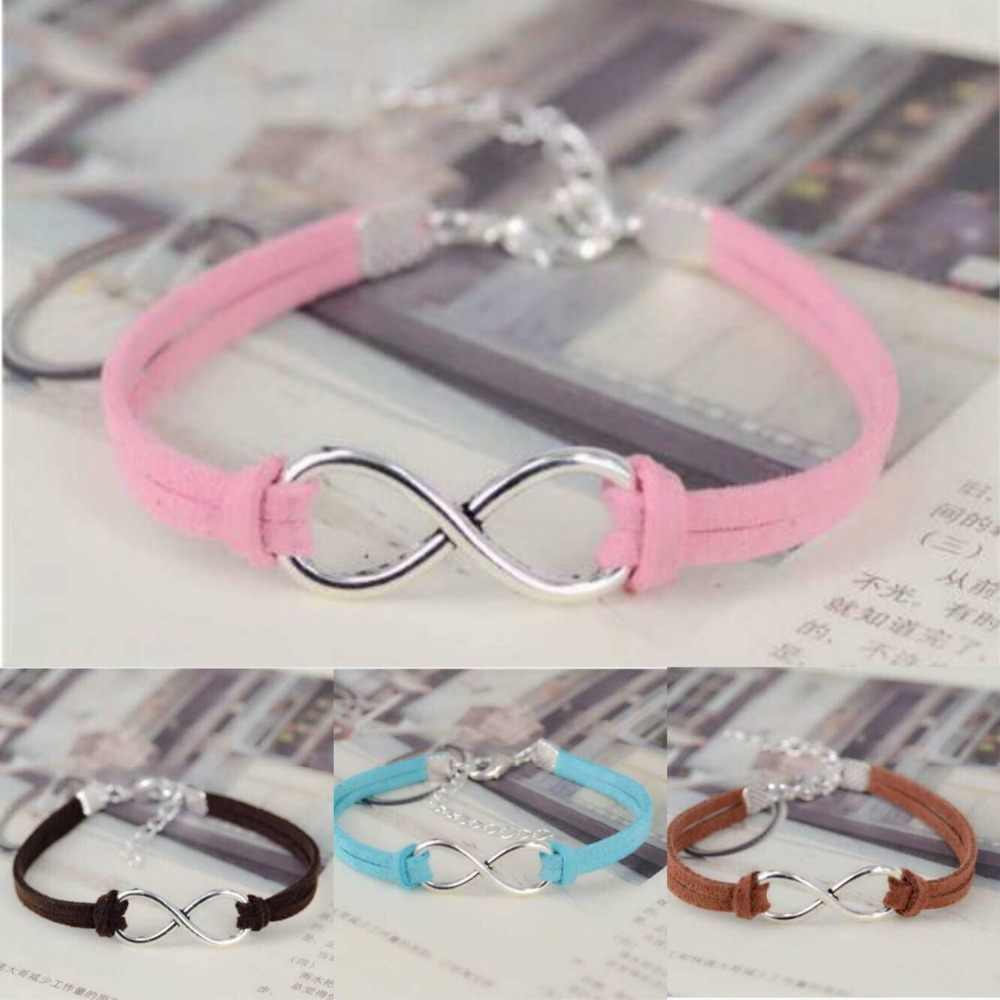 1PC  Fashion infinity Rope bracelet Hand-woven silver Korean Velvet leather Fashion Wrap Leather Jewelry  7514-7526