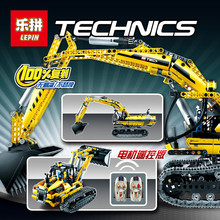 Per-sell LEPIN 20007 Technic series excavator Model Building Kit minifigures 1123pcs educational car boy Christmas gift Toy 8043