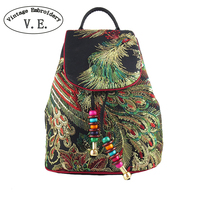 Vintage Embroidery Womens Leisure Backpack Feminine Peacock Sequin Backpacks National Characteristics Travel Bag For Women