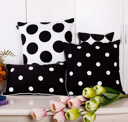 modern minimal black and white cushion cover geometric polka dot pillow case decorative sofa chair cushions covers