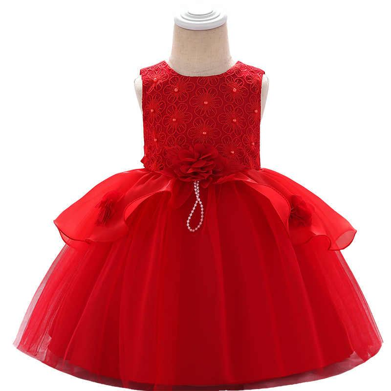Elegent קיץ 2019 תינוק ירח מלא נייל פרל חתונת שמלת פרח ילודים שמלה ללא שרוולים O-צוואר אונליין נסיכת תלבושות