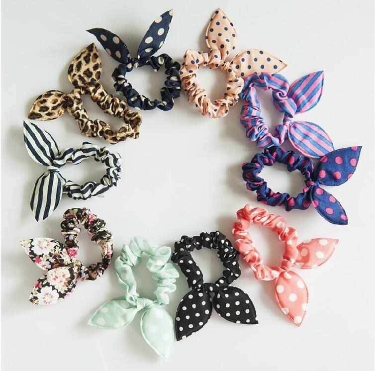 New 10pcs Lot Mix Style Clips For Hair Band Polka Dot Leopard Trip Hair Rope Rabbit Ears   Headwear   Hair Tie girl Hair Accessorie