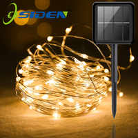 Outdoor Solar Licht String Hause 7M 12M 22M Garten Kupfer Draht Licht String Fee Outdoor Solar Powered weihnachten Party Decor