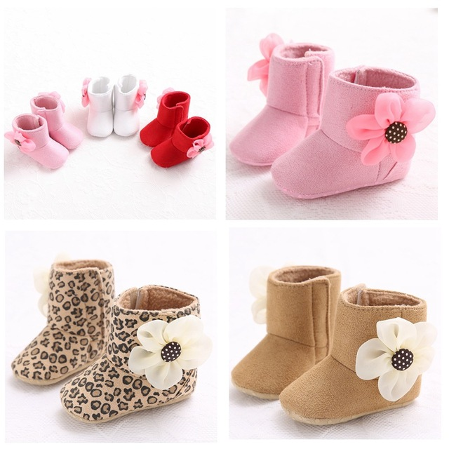 Newborn Baby Girls Shoes Boots Booties Kids Infant Bebe Keep Warm Winter  Big Flower Soft Soled Snow First Walkers Prewalkers 91ead1b58e55
