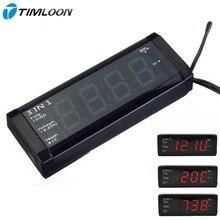 3in1 Coche Rojo Pantalla LED Reloj Con Voltímetro Digital y Termómetro para 12 V/24 V No Pila de Botón 20 días enchufe fuera de tiempo de trabajo