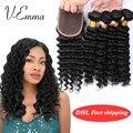 7A cabelo Onda Profunda Peruano Virgem Com Fechamento Molhado E Tecer Humano cabelo Com Encerramento Peruano Virgem Cabelo Encerramento Com Trama Onda Profunda