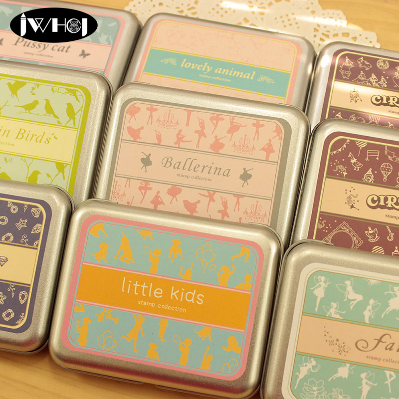 Cavallini Greetings Tin of Rubber Stamps Set of 13 Mini Stamps