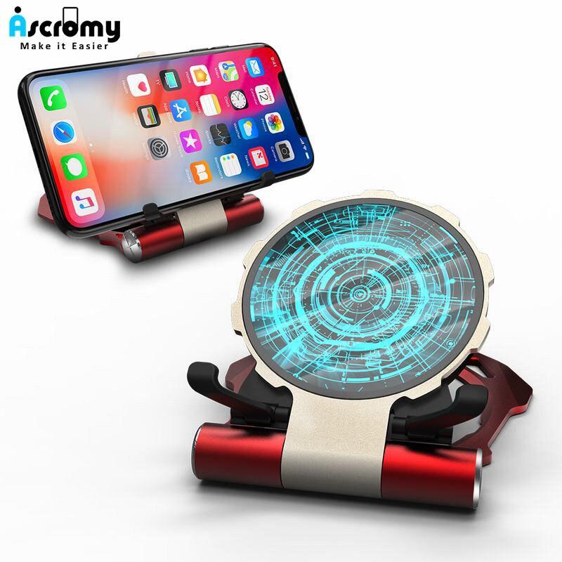 Ascromy Induction Chargeur Sans Fil Pour iPhone XS Max XR X 8 Plus Samsung S9 S8 Note 9 8 qi rapide Sans Fil Chargeur Support En Métal Pad
