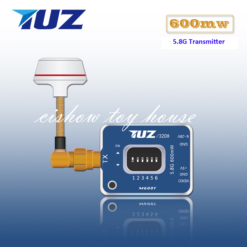 RC Hobby Parts TUZ 5.8G 600mW 32CH Audio Video A/V Transmitter with Mushroom Antenna for DIY FPV System gsx fpv 5 8g 600mw 32 channel wireless audio video a v transmitting receiving system combo module for fpv ts832 rc832