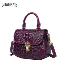 SUWERER 2019 New Women Genuine Leather bags luxury handbags famous brand Crocodile pattern Luxury women leather shoulder bag