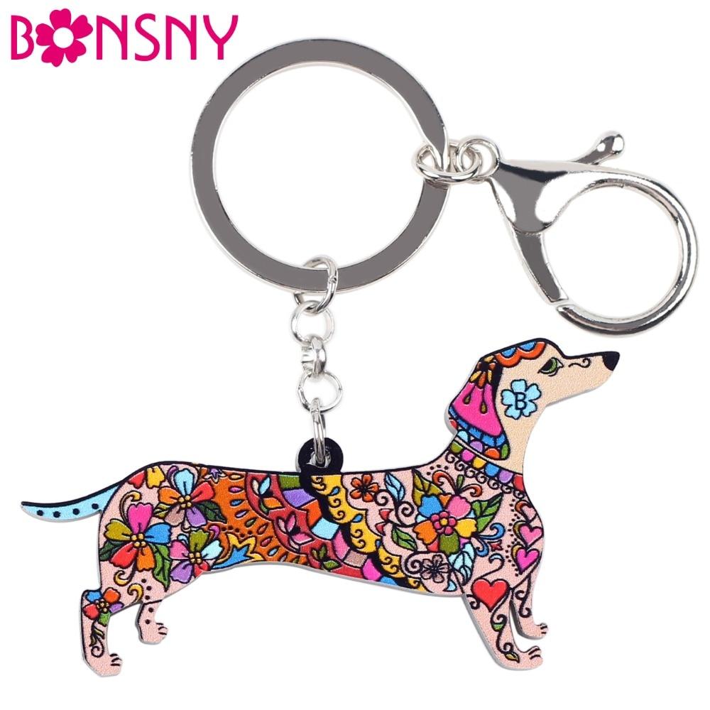 Bonsny Acrylic Statement Dog Jewelry Dachshund Chain Key Ring Pom Gift For Women Girl Bag Charm Keychain Pendant Jewelry