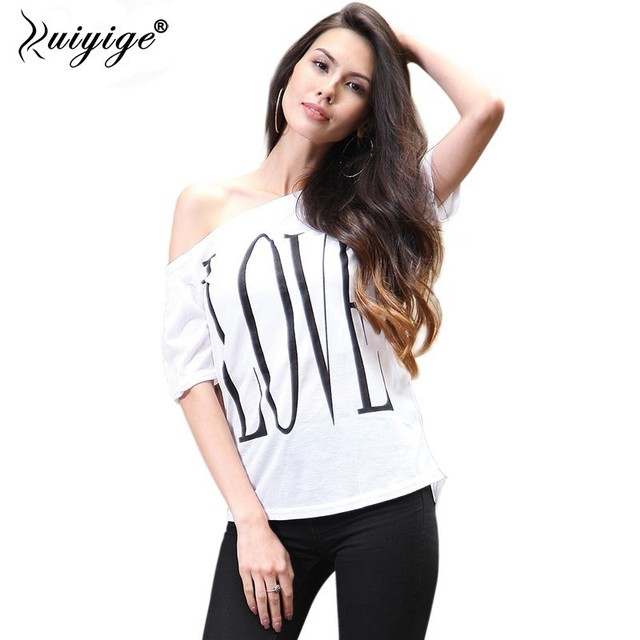 633025113a200 RUIYIGE 2018 Women Lady One Shoulder Off Shoulder White Solid Tee shirt  short in front long