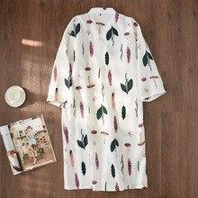 新しい夏の新鮮な葉着物ローブ女性のバスローブ 100% ガーゼ薄カジュアル女性ナイトガウン日本ローブ