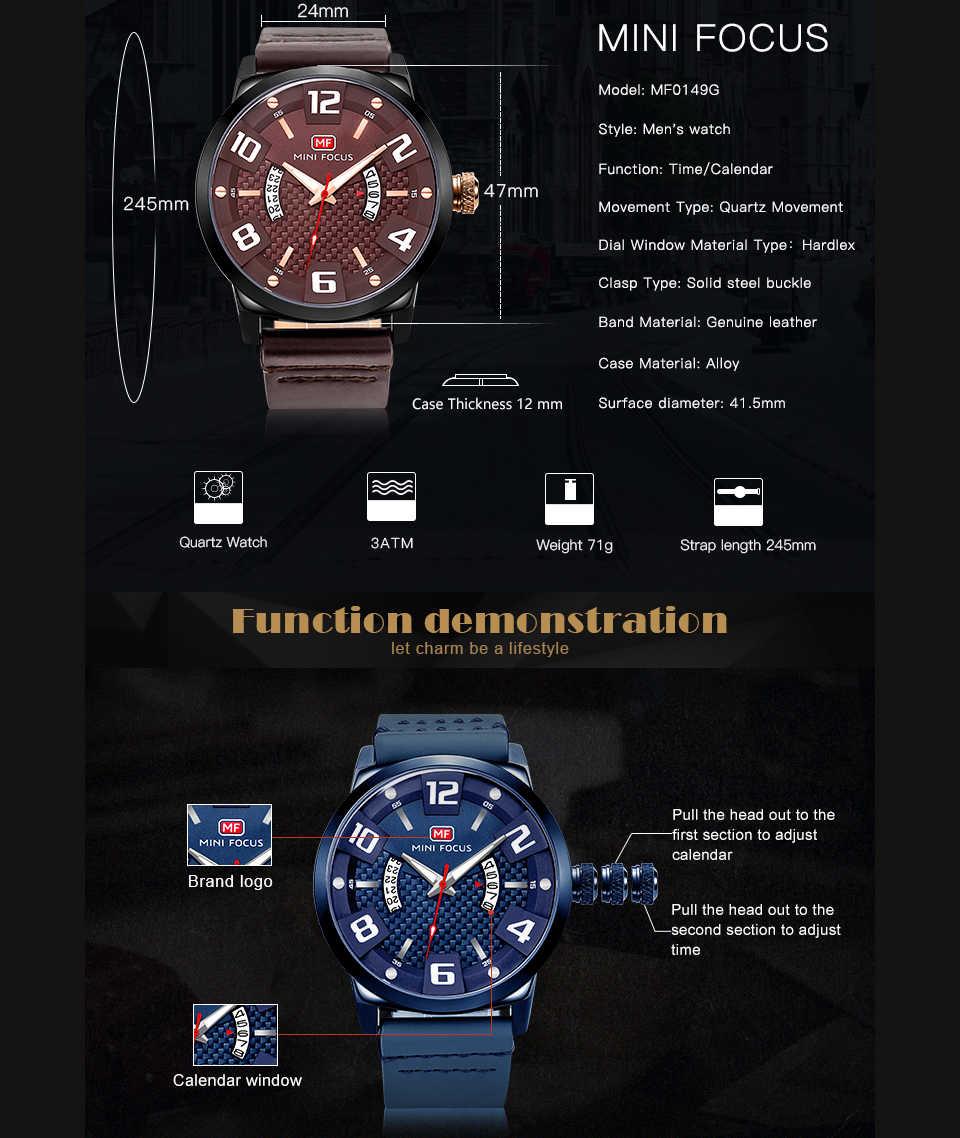 ミニフォーカススポーツクォーツ腕時計メンズブラウン本革ストラップアラビア数字 3D ボルトカレンダーダイヤルメンズ腕時計トップブランド高級