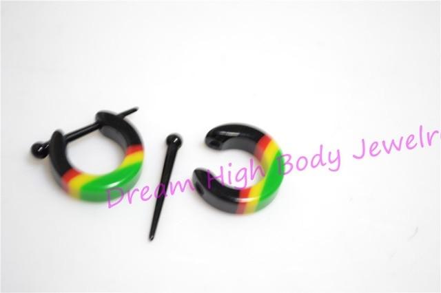 Us 23 75 5 Off Hengke Newest Ear Plug Stretchers Hoop Earring Acrylic Rasta Tribal Ethnic Piercing Rasta Reggae Bob Marley Yellow Red Green In Body