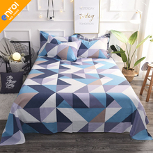 1pc 100% Cotton Printing Plaid Bedding Sheet Cheap Full King Size Single Double Bed Comfortable Fitted Sheet Mattress Cover