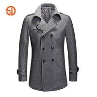 Fashion Pea Coat Men Autumn Winter Double Breasted Casual Long Woolen Coats Plus Size XXXL Mens