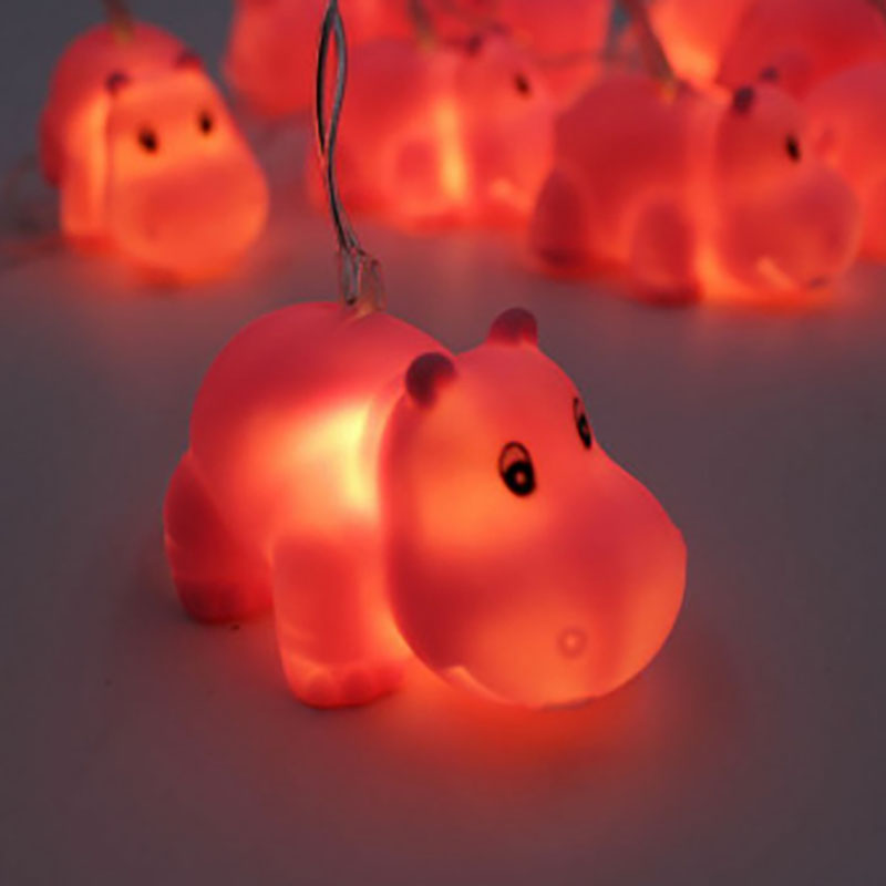 Christmas LED Pet Hippo String Light Battery Operated Fairy Lights 10 LED Fantastic Lights for Bedroom Baby Room Decoration