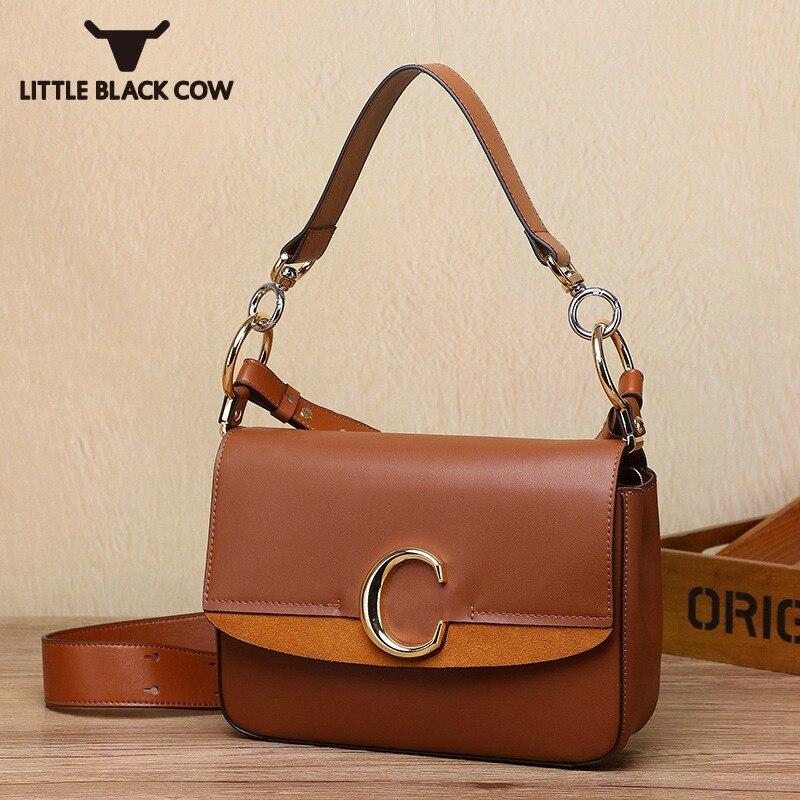 Leisure High Quality Leather Small Messenger Bag Luxury Handbags Women Bags Designer 2019 C Letter Shoulder Crossbody Bag Female