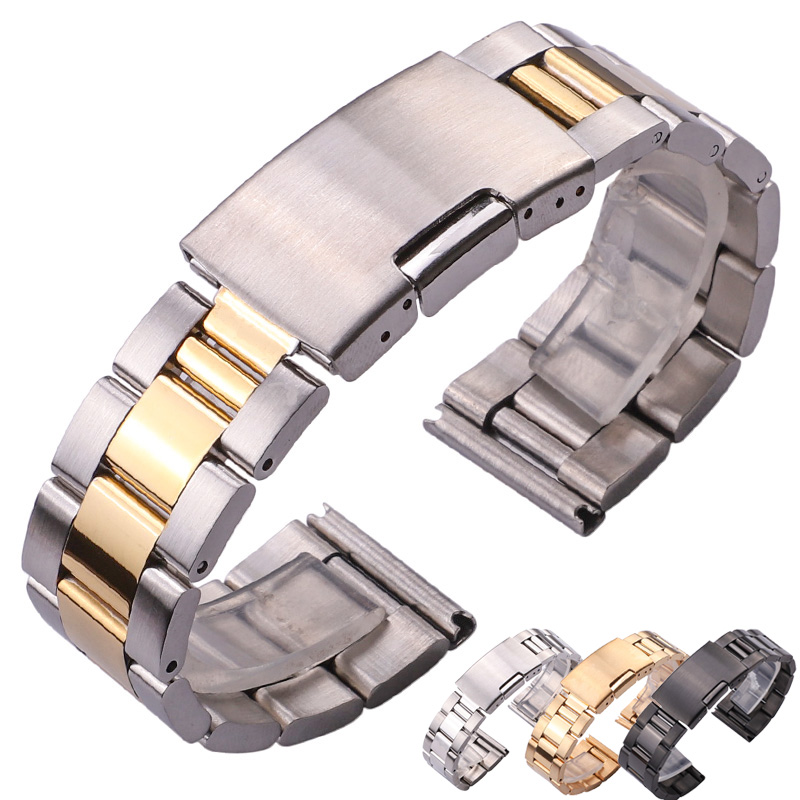 18 20 22 24mm Watch Band Strap Solid Stainless Steel Bracelet Silver Gold Black Straight End Watchbands Watches Accessories