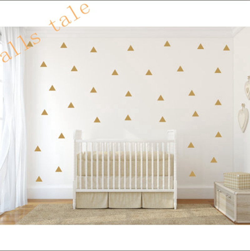 Gold Triangle Wall Sticker Vinyl Decals (Set Of 35pcs) , Gold Geometric  Patterns Modern Nursery Wall Art Decor ...