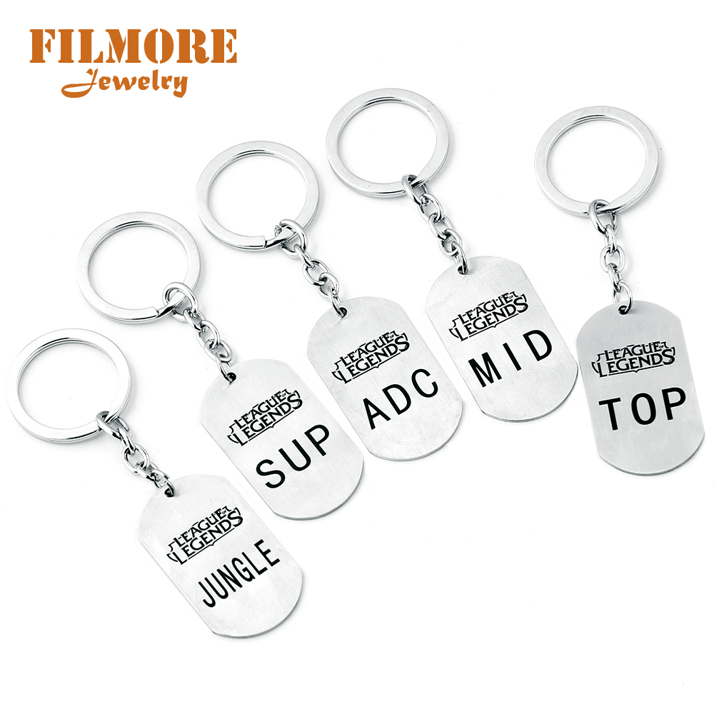 100% Quality Lol Stainless Steel High Quality Keychain League Of Legend Letter Logo Adc Mid Top Sup Jungle Series Keyring Keyholder Fan Gift