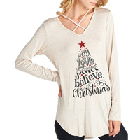 Christmas 2017 Cross V Neck Long Sleeve T Shirt Letter Print Female Tee Shirt Casual Loose