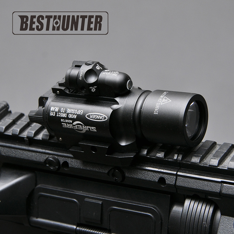 Tactical SF LED Weapon X400 Handgun Flashlight With Red Laser Sight For Rifle Scope For Hunting