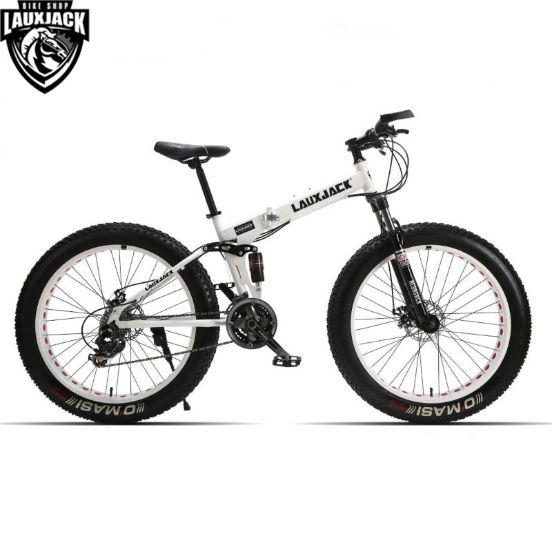 LAUXJACK Mountain Fat Bike Full Suspension Steel Foldable Frame 24 - Cycling - Photo 3