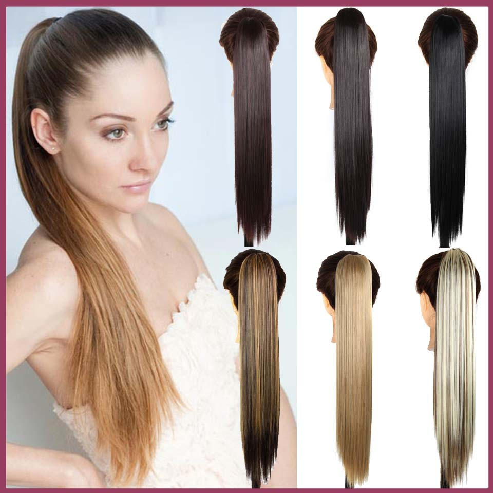Wish 24inch Long Straight Synthetic Hair Extensions Ponytail Claw