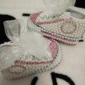 Envío gratis rhinestone Cristal de Primeros Caminante Del Bebé zapatos de Niño hecho a mano Del diamante de Bling suave del grano zapatos de pearl príncipes encantadores