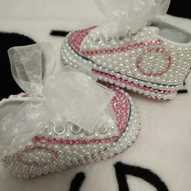 free shipping rhinestone Crystal Baby Girl Child shoes handmade Bling diamond First Walkers bead soft shoes pearl princes lovely