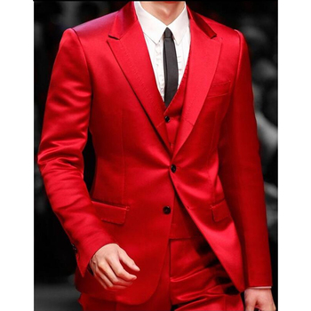 Custom Red Satin Prom/Party Suits Men Suits Slim Fit Skinny Fashion Groom Tuxedos Men Blazer 3 Pieces (Jacket+Vest+Pants) FA766