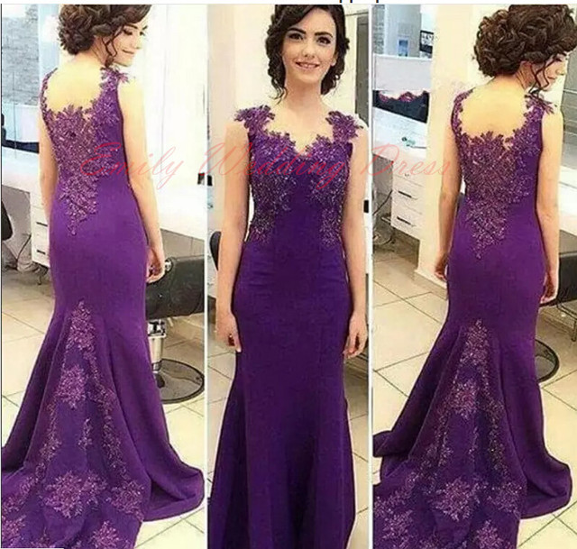 8e078bf67b11 Purple Mermaid Evening Dress with Lace Applique Sheer Back Dubai Abaya  Formal Prom Dresses Event Dinner Party Gowns