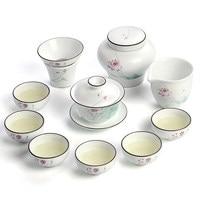 2017 White ceramics Kung Fu tea set simple cover bowl tea cups full set of gift box Jingdezhen tea sets