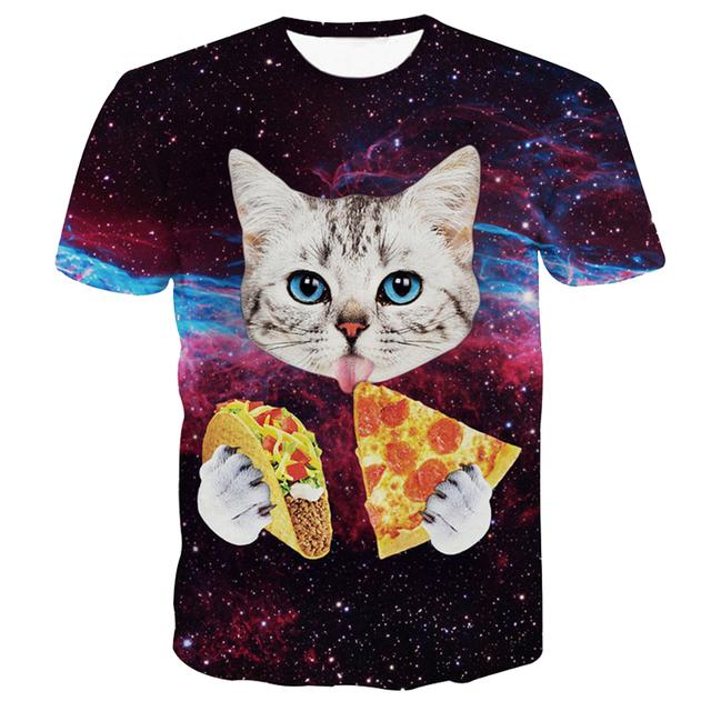 Cat Eating Pizza Galaxy T-Shirt