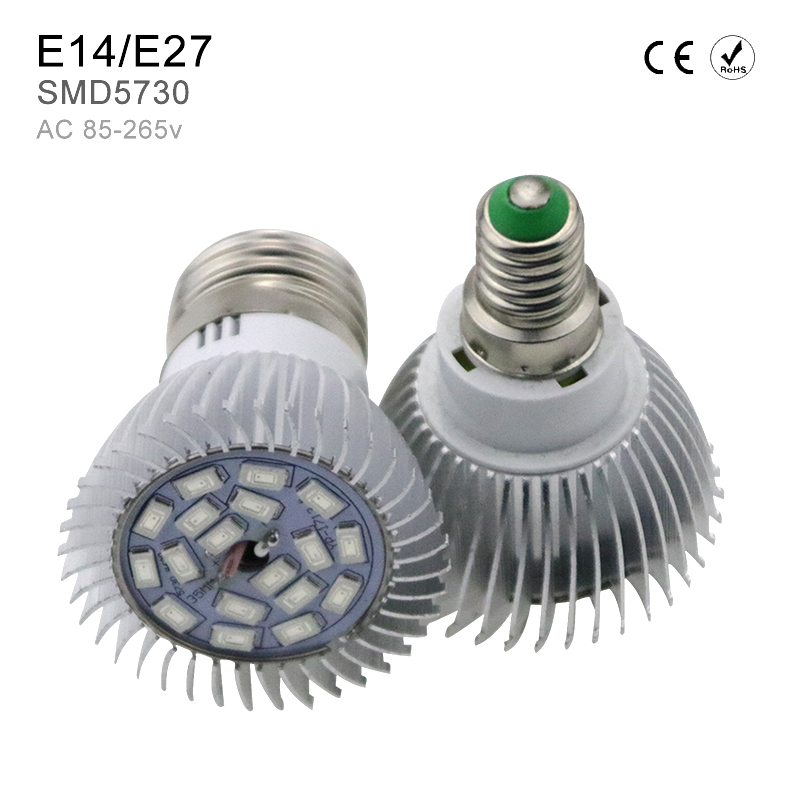 18leds E14 Full Spectrum LED Grow Light Growth for Indoor greenhouse Desktop Plants Flower with E27 LED Spotlight Bulb SMD5730