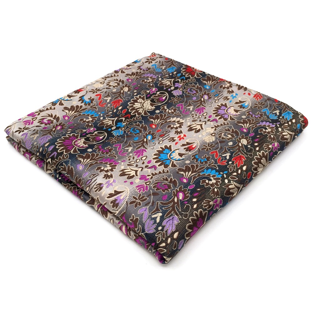 Pocket Square Handkerchief Floral Pattern Multicolor Large 12.6