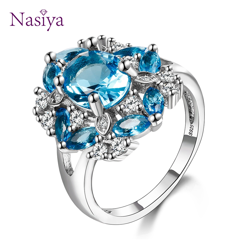 Top Brand Kyanite Fashion Jewelry Rings High Quality Women's 925 Sterling Silver Cubic Zircon Ring Wedding Party Gift Size 6-10