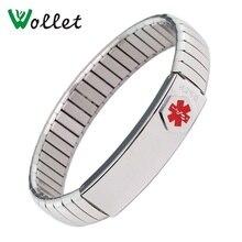 Inox Jewelry Ladies Women Men ID Bangle Elastic Stainless Steel Medical Alert Bracelet Can Engraving Logo