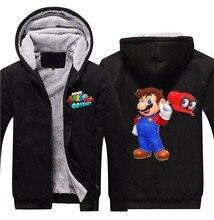 2017 Game Super Mario Odyssey Hoodies Zip Up Polyester Black Hooded Winter Super Warm Fleece Sweatshirts Coats Outwear